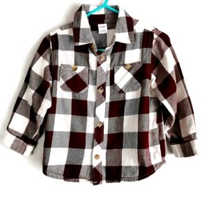 Red and White Buffalo Plaid Flannel Shirt 18-24m